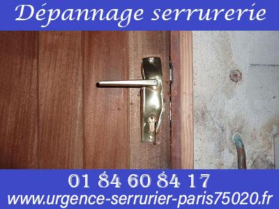 Dépannage serrurerie Paris 20