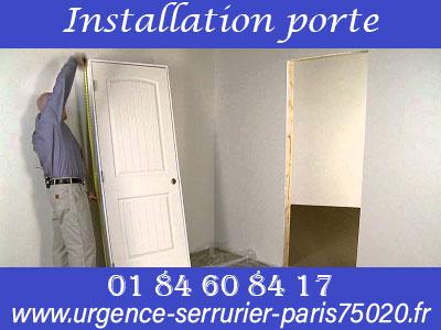 Installation de porte par un serrurier du 75020