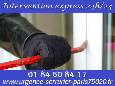 Intervention en urgence serrurerie 24h/24 sur Paris 20
