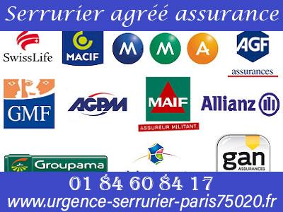Serrurier Paris 20 agréé assurance