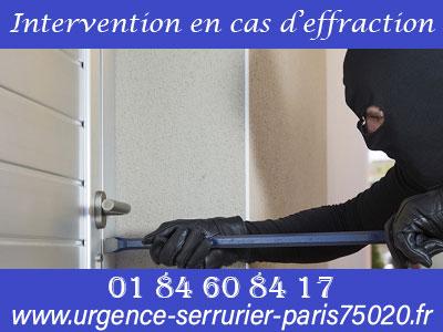 Urgence serrurerie Paris 20 : intervention en cas d'effraction