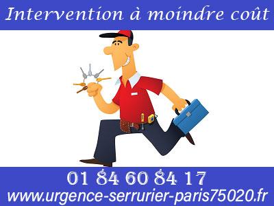 Intervention du serrurier Paris 20 à moindre coût